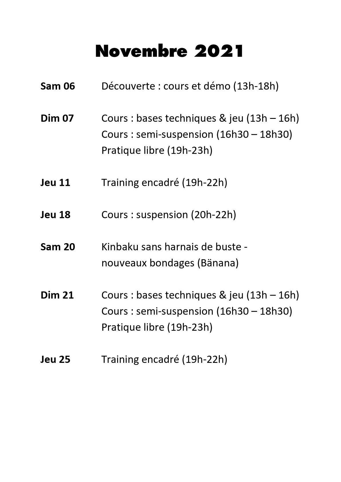Shibari Programme Novembre 2021